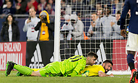 """Foxborough, Massachusetts - May 15, 2019: In """"Final Whistle on Hate"""" charity match, Chelsea FC (yellow) defeated New England Revolution (blue/white), 3-0, at Gillette Stadium on May 15, 2019 in Foxborough, Massachusetts. (Photo by Andrew Katsampes/ISI Photos)."""