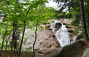 Upper Georgiana Falls in Lincoln, New Hampshire during the spring months. These falls are also referred to as Georgiana Falls.