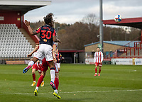 Bolton Wanderers' Peter Kioso (left) heads across the penalty area <br /> <br /> Photographer Andrew Kearns/CameraSport<br /> <br /> The EFL Sky Bet League Two - Stevenage v Bolton Wanderers - Saturday 21st November 2020 - Lamex Stadium - Stevenage<br /> <br /> World Copyright © 2020 CameraSport. All rights reserved. 43 Linden Ave. Countesthorpe. Leicester. England. LE8 5PG - Tel: +44 (0) 116 277 4147 - admin@camerasport.com - www.camerasport.com
