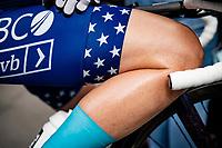 US Champion Lauren Stephens (USA/TIBCO - SVB) at the race start in Denain<br /> <br /> Inaugural Paris-Roubaix Femmes 2021 (1.WWT)<br /> One day race from Denain to Roubaix (FRA)(116.4km)<br /> <br /> ©kramon
