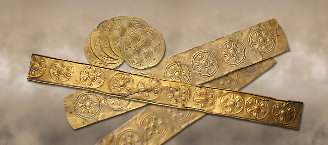Mycenaean Gold decrated bands and circuar gold foilsd from Grave IV, Grave Circle A, Myenae, Greece. National Archaeological Museum Athens. 16th Cent BC.