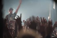 Die Hip-Hop-Gruppe Antilopen Gang aus Duesseldorf, Koeln und Berlin spielte am Samstag den 14. Maerz 2015 im ausverkauften Berliner Club SO36.<br /> Die Band besteht aus den Rappern Koljah Kolerikah, Panik Panzer und Danger Dan und steht beim Toten Hosen-Label JKP unter Vertrag.<br /> 14.3.2015, Berlin<br /> Copyright: Christian-Ditsch.de<br /> [Inhaltsveraendernde Manipulation des Fotos nur nach ausdruecklicher Genehmigung des Fotografen. Vereinbarungen ueber Abtretung von Persoenlichkeitsrechten/Model Release der abgebildeten Person/Personen liegen nicht vor. NO MODEL RELEASE! Nur fuer Redaktionelle Zwecke. Don't publish without copyright Christian-Ditsch.de, Veroeffentlichung nur mit Fotografennennung, sowie gegen Honorar, MwSt. und Beleg. Konto: I N G - D i B a, IBAN DE58500105175400192269, BIC INGDDEFFXXX, Kontakt: post@christian-ditsch.de<br /> Bei der Bearbeitung der Dateiinformationen darf die Urheberkennzeichnung in den EXIF- und  IPTC-Daten nicht entfernt werden, diese sind in digitalen Medien nach §95c UrhG rechtlich geschuetzt. Der Urhebervermerk wird gemaess §13 UrhG verlangt.]