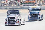 Czech driver Adam Lacko belonging Czech team Buggyra International Racing System and German driver Jochen  Hahn belonging German team Jochen Hahn during the fist race R1 of the XXX Spain GP Camion of the FIA European Truck Racing Championship 2016 in Madrid. October 01, 2016. (ALTERPHOTOS/Rodrigo Jimenez)