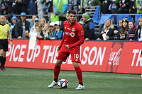 SEATTLE, WA - NOVEMBER 10: Alejandro Pozuelo #10 of Toronto FC stands over the ball during a game between Toronto FC and Seattle Sounders FC at CenturyLink Field on November 10, 2019 in Seattle, Washington.