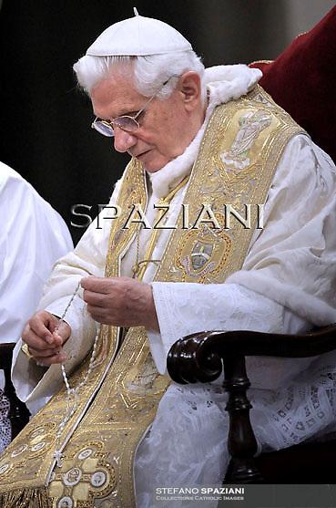 Pope Benedict XVI celebrates a rosary prayer at Saint Mary Major Basilica in Rome...May 26, 2011 ..