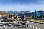 The peloton climb during Stage 11 of the Vuelta Espana 2020 running 170km from Villaviciosa to Alto de la Farrapona, Spain. 31st October 2020. <br /> Picture: Unipublic/Charly Lopez | Cyclefile<br /> <br /> All photos usage must carry mandatory copyright credit (© Cyclefile | Unipublic/Charly Lopez)