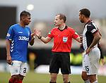 03.11.2018: St Mirren v Rangers: Willie Collum with Alfredo Morelos and Anton Ferdinand