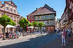 Germany, Bavaria, Lower Franconia, Miltenberg: café at market square | Deutschland, Bayern, Franken (Unterfranken), Miltenberg: Café am Marktplatz