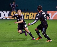 Charlie Davies (9) of D.C. United celebrates his goal with teammate Chris Pontius  (13) during the game at RFK Stadium.  D.C. United tied the LA Galaxy, 1-1.