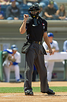 Home plate umpire Andrew Barrett during the game against the Visalia Rawhide at LoanMart Field on May 13, 2018 in Rancho Cucamonga, California. The Quakes defeated the Rawhide 3-2.  (Donn Parris/Four Seam Images)