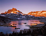 Alpenglow, Mount Banner and Ritter at Thousand Island Lake, Ansel Adams Wilderness, Sierra Nevada, California