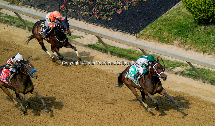 May 15, 2021: Chub Wagon, #5, ridden by jockey Irad Ortiz Jr., wins the Runhappy Skipat Stakes on Preakness Stakes Day at Pimlico Race Course in Baltimore, Maryland. John Voorhees/Eclipse Sportswire/CSM
