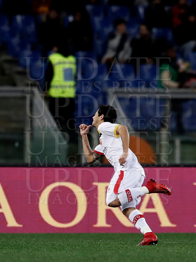 Calcio, Serie A: AS Roma - Benevento, Roma, stadio Olimpico, 11 gennaio 2018.<br /> Benevento's Guilherme celebrates after scoring during the Italian Serie A football match between AS Roma and Benevento at Rome's Olympic stadium, February 11, 2018.<br /> UPDATE IMAGES PRESS/Isabella Bonotto