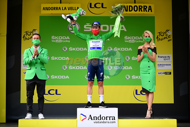 Mark Cavendish (GBR) Deceuninck-Quick Step retains the points Green Jersey at the end of Stage 15 of the 2021 Tour de France, running 191.3km from Ceret to Andorre-La-Vieille, France. 11th July 2021.  <br /> Picture: A.S.O./Pauline Ballet | Cyclefile<br /> <br /> All photos usage must carry mandatory copyright credit (© Cyclefile | A.S.O./Pauline Ballet)