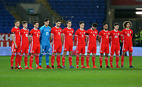 Wales players observe a minute's silence during the international friendly soccer match between Wales and Panama at Cardiff City Stadium, Cardiff, Wales, UK. Tuesday 14 November 2017.