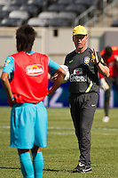 Brazil (BRA) head coach Mano Menezes during practice the day prior to Brazil playing Argentina in an international friendly at MetLife Stadium in East Rutherford, NJ, on June 8, 2012.