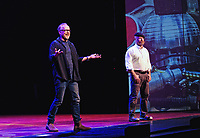 "14 July 2020 - Adam Savage, former co-host of the television series 'MythBusters' shared a tribute to his colleague Grant Imahara who died suddenly at the age of 49.  Savage posted his reaction to Imahara's passing on Twitter praising his friend as a ""brilliant engineer, artist and friend"".  File Photo: MythBusters: Behind the Myths Tour 2015, FirstOntario Concert Hall, Hamilton, Ontario, Canada. Photo Credit: Brent Perniac/AdMedia"