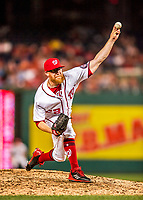 15 August 2017: Washington Nationals pitcher Sean Doolittle on the mound in the 9th inning towards his save over the Los Angeles Angels at Nationals Park in Washington, DC. The Nationals defeated the Angels 3-1 in the first game of their 2-game series. Mandatory Credit: Ed Wolfstein Photo *** RAW (NEF) Image File Available ***