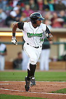 Dayton Dragons outfielder Narciso Crook (36) runs to first during a game against the Great Lakes Loons on May 21, 2015 at Fifth Third Field in Dayton, Ohio.  Great Lakes defeated Dayton 4-3.  (Mike Janes/Four Seam Images)
