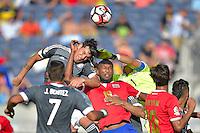 Action photo during the match Costa Rica vs Paraguay, Corresponding Group -A- America Cup Centenary 2016, at Citrus Bowl Stadium<br /> <br /> Foto de accion durante el partido Estados Unidos vs Colombia, Correspondiante al Grupo -A-  de la Copa America Centenario USA 2016 en el Estadio Citrus Bowl, en la foto: (i-d) Kendall Waston de Costa Rica y Justo Villar de Paraguay<br /> <br /> <br /> <br /> 04/06/2016/MEXSPORT/Isaac Ortiz.