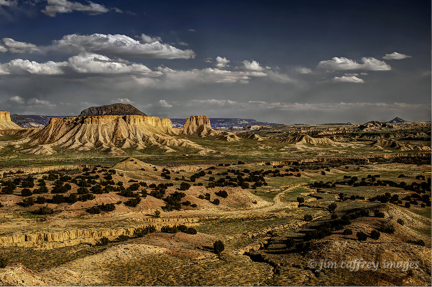 A view looking down the Rio Puerco Valley from an overlook with spring grasses sprouting.