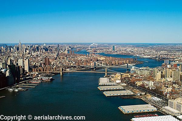 aerial photograph East River Manhattan Brooklyn, New York City