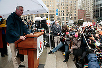 NEW YORK, NEW YORK- FEBRUARY 27, 2021: New York City Mayor Bill De Blasio delivers remarks and attends the American Asian Federation's Anti-Asian Hate Rally held at Foley Square/Federal Plaza in the lower Manhattan section of New York City on February 27, 2021.  Photo Credit: mpi43/MediaPunclh