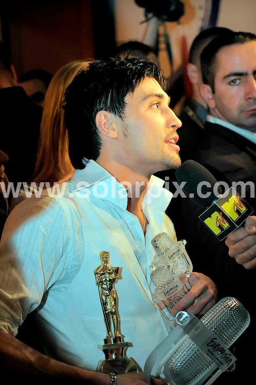**ALL ROUND PICTURES FROM SOLARPIX.COM**.**SYNDICATION RIGHTS FOR UK AND SPAIN ONLY**.Dima Bilan, winner of the 2008 Eurovision Contest in Belgrade gives a press conference. 25th May 2008..JOB REF: 6511 CPR/Oskar Eyb DATE: 25_05_2008.**MUST CREDIT SOLARPIX.COM OR DOUBLE FEE WILL BE CHARGED* *UNDER NO CIRCUMSTANCES IS THIS IMAGE TO BE REPRODUCED FOR ANY ONLINE EDITION WITHOUT PRIOR PERMISSION*