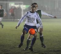 KM Torhout - KSV Temse.. Jonas Vandermarliere aan de bal met Jens Noppe achter zich ..foto VDB / BART VANDENBROUCKE