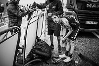 Mikel Nieve (ESP/Mitchelton-Scott) after finishing the stage where the weather turned foul in the finale<br /> <br /> Stage 9: Andorra la Vella to Cortals d'Encamp (94km) - ANDORRA<br /> La Vuelta 2019<br /> <br /> ©kramon