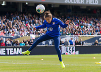 CHICAGO, IL - OCTOBER 5: Mallory Pugh #2 of the United States heads the ball at Soldier Field on October 5, 2019 in Chicago, Illinois.