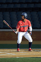 D.J. Artis (1) of the Liberty Flames at bat against the Wake Forest Demon Deacons at David F. Couch Ballpark on April 25, 2018 in  Winston-Salem, North Carolina.  The Demon Deacons defeated the Flames 8-7.  (Brian Westerholt/Four Seam Images)