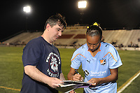 Rosana (11) of Sky Blue FC signs autographs after the game. FC Gold Pride defeated Sky Blue FC 1-0 during a Women's Professional Soccer (WPS) match at Yurcak Field in Piscataway, NJ, on May 1, 2010.