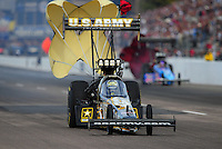 Feb. 19, 2012; Chandler, AZ, USA; NHRA top fuel dragster driver Tony Schumacher during the Arizona Nationals at Firebird International Raceway. Mandatory Credit: Mark J. Rebilas-