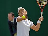 London, England, 2 July, 2016, Tennis, Wimbledon, Misaki Doi (JAP) in her junior match against Anna-Lena Frredsham (GER)<br /> Photo: Henk Koster/tennisimages.com