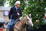 JUNE 5, 2015: Trainer Bob Baffert with his stable pony Smokey, after morning workouts in preparation for the 147th running of the Belmont Stakes at Belmont Park in New York, NY. Jon Durr/ESW/CSM