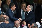 Luis Figo and Florentino Perez of Real Madrid during the match of La Liga between Real Madrid and Futbol Club Barcelona at Santiago Bernabeu Stadium  in Madrid, Spain. April 23, 2017. (ALTERPHOTOS)