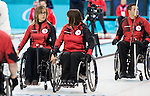 Sochi, RUSSIA - Mar 7 2014 -  Sonja Gaudet and Ina Forrest of Canada's Wheelchair Curling Team trains before the Sochi 2014 Paralympic Winter Games in Sochi, Russia.  (Photo: Matthew Murnaghan/Canadian Paralympic Committee)