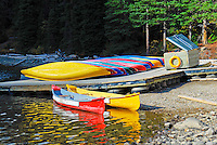Cororful kayaks lined up along the shores of Moraine Lake in Banff NP