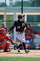 Pittsburgh Pirates Mitchell Tolman (24) during a Minor League Extended Spring Training game against the Philadelphia Phillies on May 3, 2018 at the Pirate City in Bradenton, Florida.  (Mike Janes/Four Seam Images)