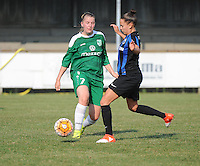 20160827 - AALTER , BELGIUM : Brugge's Kay Cuvelier (R) and Bercheux's Elisa Maufort (L) pictured during the soccer match  in the 2nd round of the  Belgian cup 2017 , a soccer women game between Club Brugge and Football Club Bercheux   ,  Aalter , saturday 27 th August 2016 . PHOTO SPORTPIX.BE / DIRK VUYLSTEKE