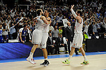 Real Madrid´s Gustavo Ayon, Sergio Rodriguez and Rudy Fernandez during 2014-15 Euroleague Basketball Playoffs second match between Real Madrid and Anadolu Efes at Palacio de los Deportes stadium in Madrid, Spain. April 17, 2015. (ALTERPHOTOS/Luis Fernandez)