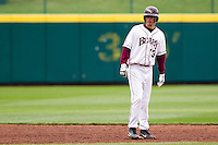 Kevin Medrano (13) of the Missouri State Bears looks for base running signs from the third base coach during a game against the Oral Roberts Golden Eagles on March 27, 2011 at Hammons Field in Springfield, Missouri.  Photo By David Welker/Four Seam Images