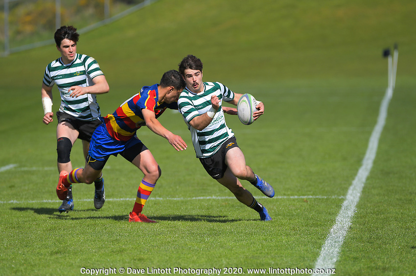 Action from the Wellington Rugby Union Paris Memorial Trophy Colts rugby match between Old Boys University Green and Tawa at Ian Galloway park in Wellington, New Zealand on Saturday, 12 September 2020. Photo: Dave Lintott / lintottphoto.co.nz