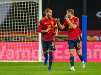 17th November 2020;  Estadio La Cartuja de Sevilla, Seville, Spain; UEFA Nations League Football, Spain versus Germany; Goal celebrations for the goal for 1:0 from Alvaro Morata (esp) shows Sergio Ramos (esp) and Sergi Roberto (esp)