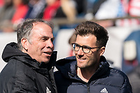 FOXBOROUGH, MA - MARCH 7: Bruce Arena coach of New England Revolution and Raphael Wicky coach of Chicago Fire during a game between Chicago Fire and New England Revolution at Gillette Stadium on March 7, 2020 in Foxborough, Massachusetts.