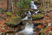 Rollo Fall along the Moose River in Randolph, New Hampshire during the autumn months. At one time, Lowe's Path traveled by this small waterfall, but the trail was rerouted away from it. And over the years Rollo Fall was forgotten about. However, a new trail now leads to this wonderful waterfall.