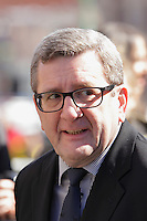 Quebec Mayor Regis Labeaume<br /> attend<br /> the funerals of Jean Lapierre, former politician and media,<br />  April 16, 2016 in Outremont.<br /> <br /> Photo : Pierre Roussel - Agence Quebec Presse<br /> <br /> <br /> <br /> <br /> <br /> <br /> <br /> <br /> .