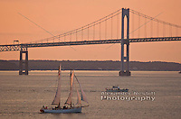 The Schooner Adirondack sails near the Newport Bridge in Narragansett Bay.