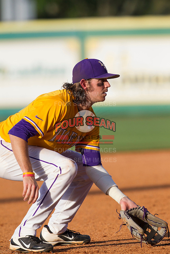 LSU Tigers third baseman Conner Hale (20) on defense during the Southeastern Conference baseball game against the Texas A&M Aggies on April 25, 2015 at Alex Box Stadium in Baton Rouge, Louisiana. Texas A&M defeated LSU 6-2. (Andrew Woolley/Four Seam Images)